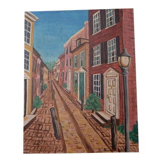 Elfreth's Alley Phila. Original Art Painting 1968 Historical Street Signed Sharkey For Sale