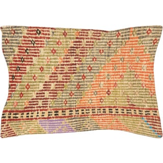 "Nalbandian - 1960s Turkish Cicim Lumbar Pillow - 16"" X 23"" For Sale"