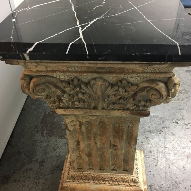 Console Table with Black Marble Top & Column Base - Image 8 of 8