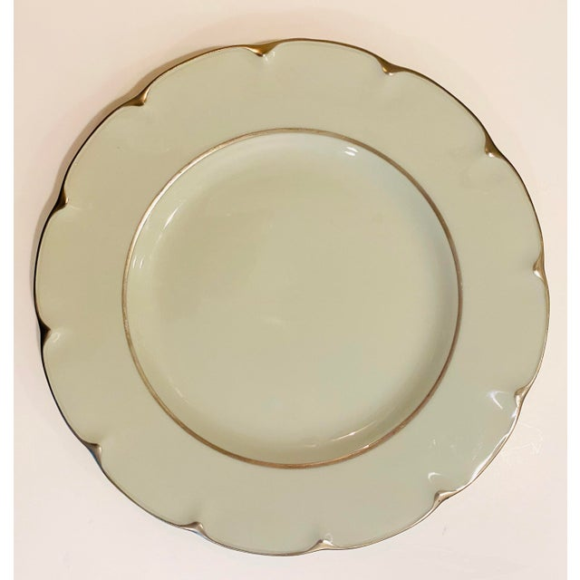 """French Theodore Haviland """"Concorde"""" Limoges Celadon and Silver Scalloped Plates - Set of 13 For Sale - Image 3 of 11"""