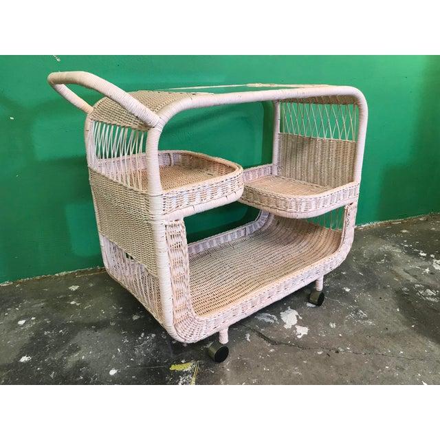 Vintage Palm Beach Regency Pink Wicker Bar Cart For Sale - Image 13 of 13