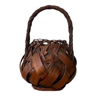 Antique Japanese Woven Bamboo Ikebana Basket, Circa 1920s For Sale