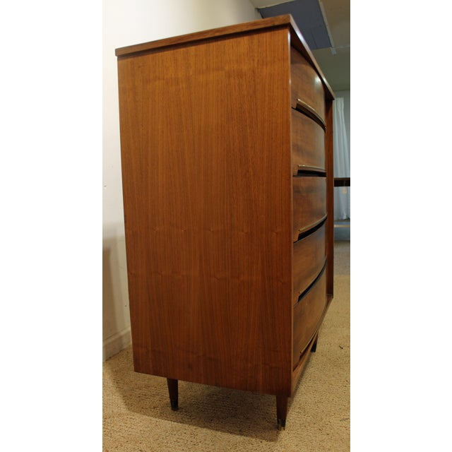 Mid-Century Danish Modern Curved Front Walnut Tall Chest Dresser For Sale - Image 4 of 11