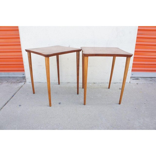 From the personal collection of Martha Mulholland. This sweet little pair of cocktail tables would be great flanking a...