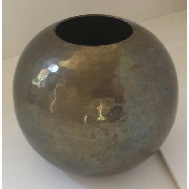 Vintage Hammered Brass Round Ball Vase - Image 2 of 5