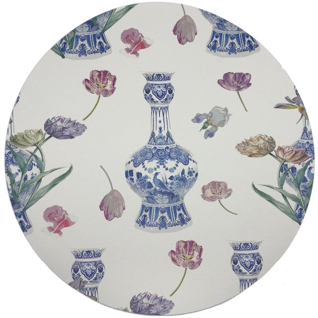 """Modern Nicolette Mayer Royal Delft Purissima 16"""" Round Pebble Placemats, Set of 4 For Sale - Image 3 of 3"""