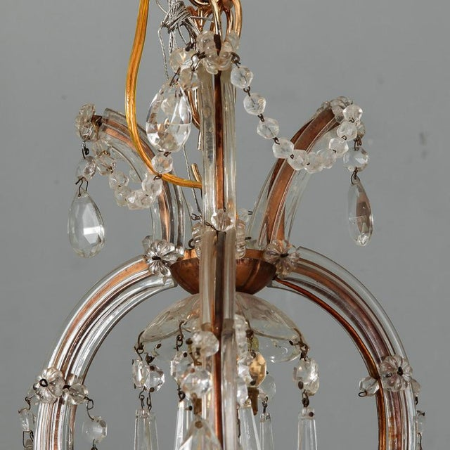 1930s Heavily Beaded Small Six Light Maria Theresa Chandelier For Sale - Image 5 of 11