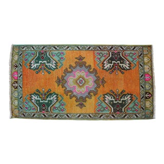 Distressed Low Pile Turkish Yastik Petite Rug Hand Knotted Faded Mat - 20'' X 38'' For Sale