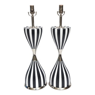Pair of Mid Century Black and White Ceramic and Nickel Silver Table Lamps For Sale
