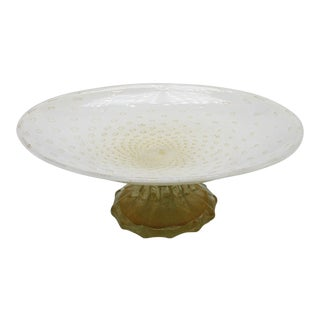 White Murano Glass Bowl on Gold Base, C. 1960 For Sale