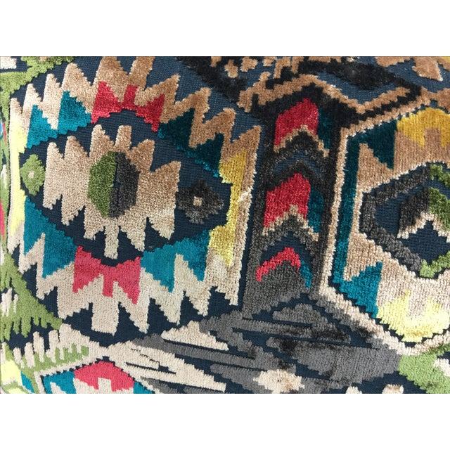 Art Deco-Style Tribal Velvet Pillow - Image 4 of 7