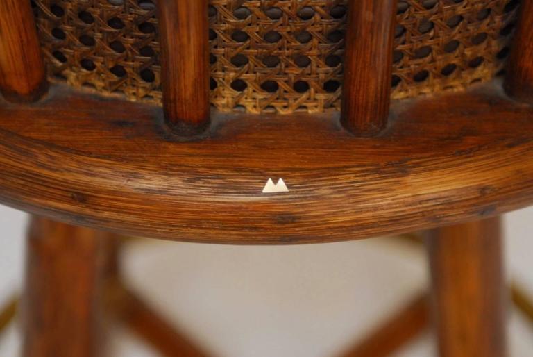 Mcguire Bamboo Amp Cane Swivel Barstools Set Of 4 Chairish