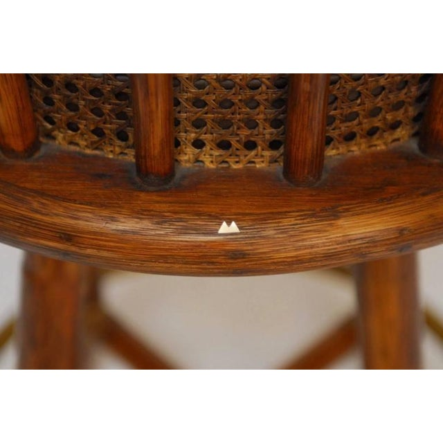 McGuire Bamboo & Cane Swivel Barstools - Set of 4 - Image 9 of 10