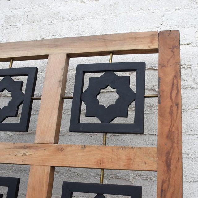 Brass Mexican Modernist Mahogany Room Divider Escudero Era For Sale - Image 7 of 9