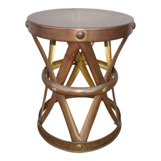 Brass Drum Side Table For Sale