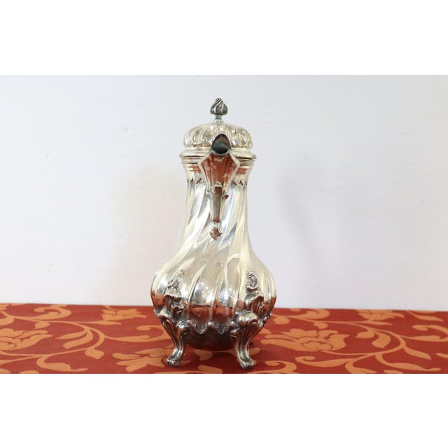 Silver 20th Century Italian Baroque Style Silver 800 Coffee Pot For Sale - Image 8 of 13