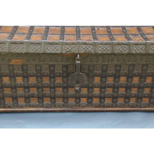 Black British Colonial Iron Bound Trunk Coffee Table Chest For Sale - Image 8 of 13