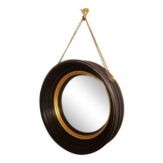 Neoclassical Style Bulls Eye Black and Gold Convex Mirror For Sale