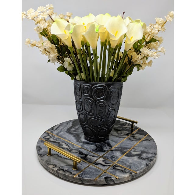 Gray Marble and Brass Circular Tray For Sale - Image 10 of 13