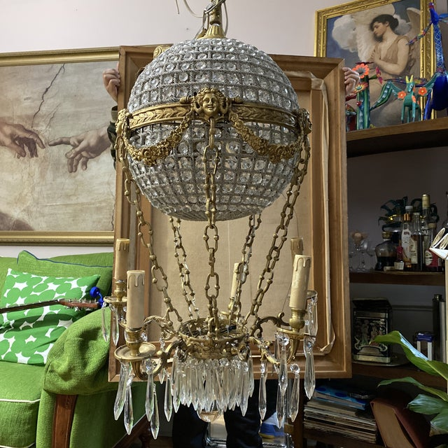Crystal and Brass Hot Air Balloon Chandelier** For Sale - Image 11 of 11