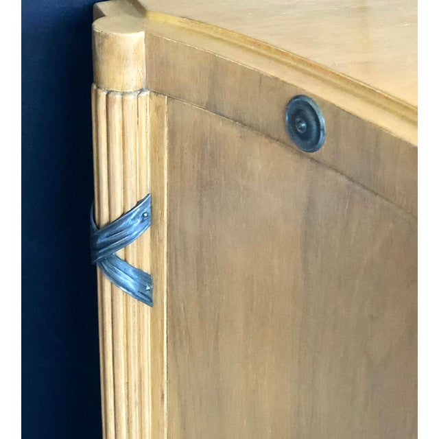 1940s French Sycamore 2-Door Cabinet With Pewter Mounts For Sale - Image 10 of 13