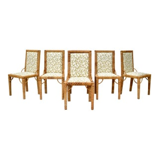 1970's Bielecky Brothers Rattan Parsons Dining Chairs - Set of 6 For Sale