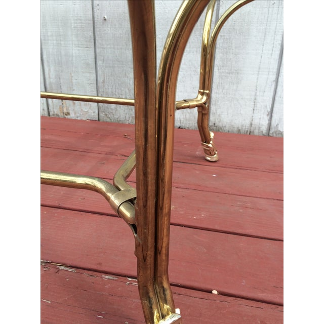 Gold Hollywood Regency Brass Hoof Feet Coffee Table For Sale - Image 8 of 9