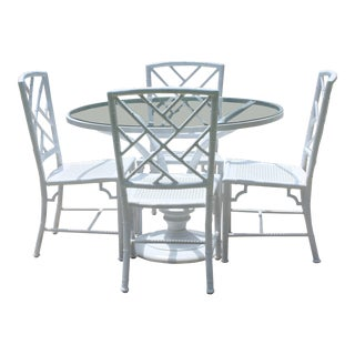Vintage Chinoiserie Meadowcraft Faux Bamboo Dining Set For Sale