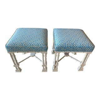 Vintage Palm Beach Faux Bamboo Blue & White Lacquered Greek Key Upholstered Benches Stools -A Pair For Sale