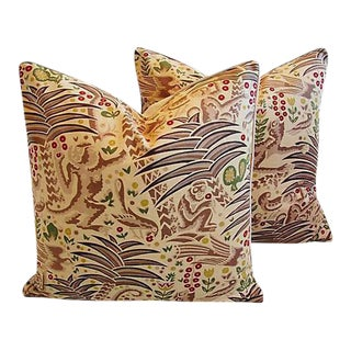 """24"""" Custom Tailored Clarence House Gibbon Fabric Feather/Down Pillows - Pair"""