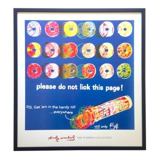 "Andy Warhol Foundation Rare Lithograph Print Framed Iconic Pop Art Poster "" Life Savers "" 1985 For Sale"