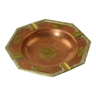 1960s Vintage Turkish Brass and Copper Cigar Ashtray For Sale