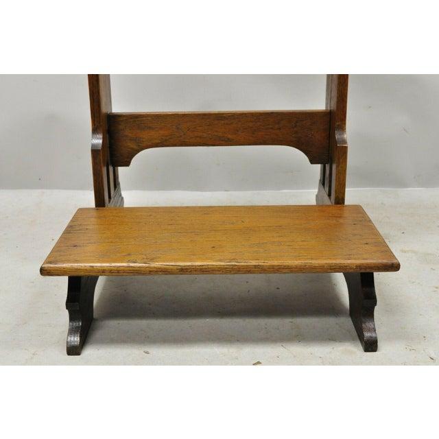 Mission Vintage Arts & Crafts Mission Oak Wood Prayer Kneeler Kneeling Bench Seat For Sale - Image 3 of 12