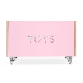 Toy Box Chest on Casters in Birch With Pink Finish Preview