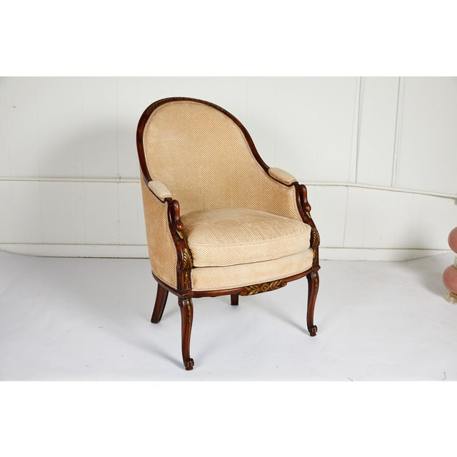 French Empire Style Swan Arm Tub Chair For Sale - Image 9 of 9