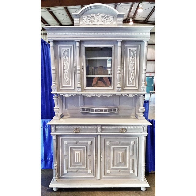 Newly painted in a shabby Annie Sloan Paris Grey and Pure White with matching wax finish, an 1880s French solid walnut...