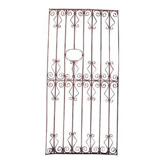 Antique Wrought Iron Grid Gate For Sale