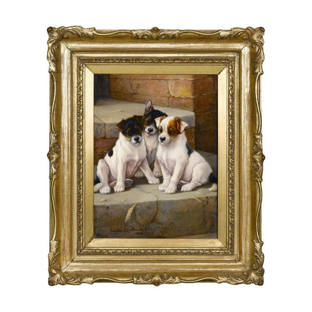 Valentine Thomas Garland 1868-1914 • British Signed and dated 1902 Oil on canvas Three adorable terriers huddle close in...