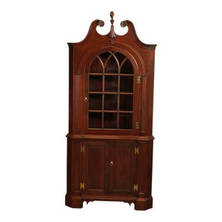 Chippendale Style Custom Quality Mahogany Corner Cabinet For Sale