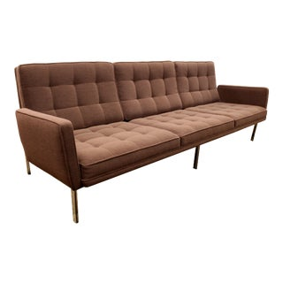 Mid-Century Modern Rare Early Florence Knoll Chrome Parallel Bar Sofa, 1950s For Sale