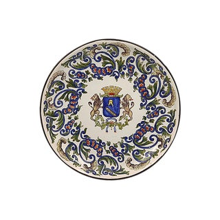 French Faience Wall Plate W/ Crest For Sale