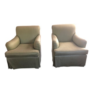 Upholstered Light Green Club Chairs- A Pair For Sale
