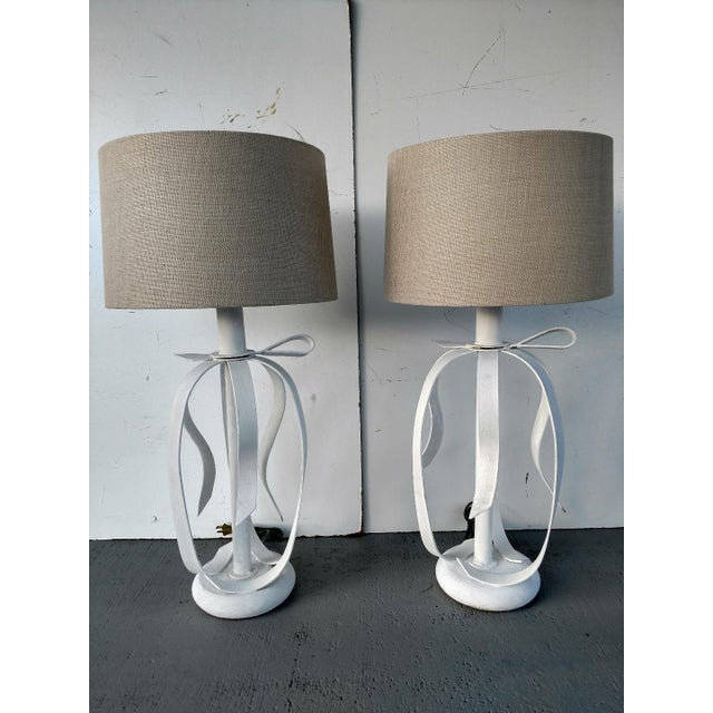 White 1970's Metal Ribbon Table Lamps - a Pair For Sale - Image 8 of 9