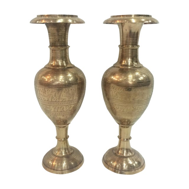 Large Engraved Brass Vases A Pair Chairish