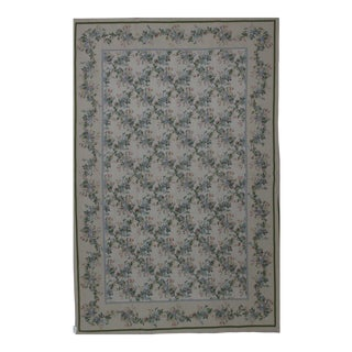 Needlepoint Design Hand Woven Wool Rug - 6' X 9' For Sale