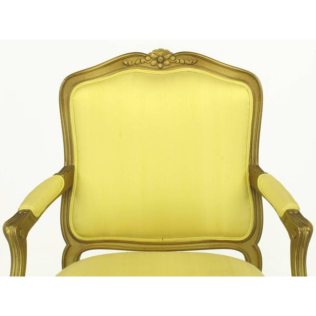 Giltwood 1940s Giltwood Louis XV Style Fauteuil with Saffron Silk Upholstery For Sale - Image 7 of 8