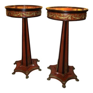 1940's Antique Tall Pedestals With Ormolu- a Pair For Sale