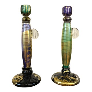 Blown Glass Candlestick Holders Signed by David Garcia For Sale
