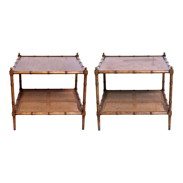 Mid Century Asian Inspired Baker Side Tables - a Pair For Sale
