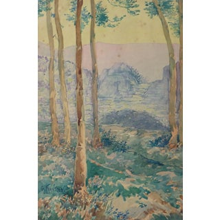 Gustave Frantzen, Antique Watercolor Landscape - Through the Tall Tress Mountains Appear For Sale
